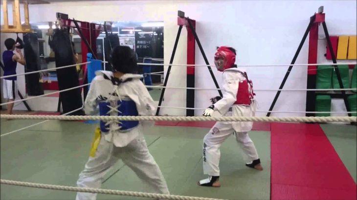 """迫力!テコンドー『ビックリ蹴り技』練習(日本ジュニア強化選手)Movie of Taekwondo practice""""Surprised Kick"""""""