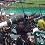 甲子園球場のプレス専用スペース(カメラマン席)