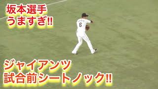 坂本選手がウマスギ!読売ジャイアンツ試合前シートノックと円陣で話す岡本選手!