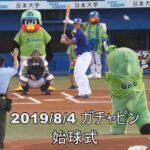 2019/8/4 ガチャピン始球式 相手選手も笑顔